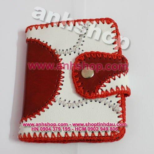Ví Da Trắng Đỏ - Bìa Da sổ tay - Notebook Leather Cover